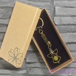 Obesek za ključe angel rumeni Žad v darilni embalaži