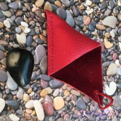 Usnjen mošnjiček za nakit, kristale rdeč