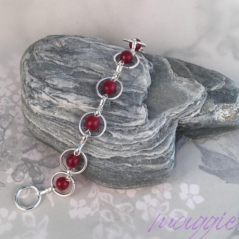 Srebrna zapestnica Rubin Ruby